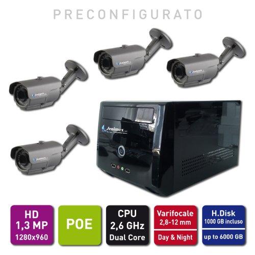 Jenimex Kit di Videosorveglianza Entry IP HD 1,3 MP POE (non hanno bisogno di alimentazione) :NVR + 4 Telecamere IP HD 1,3MP 1280x960; inclusi nel prezzo preconfigurazione e supporto tecnico del produttore per 12 mesi