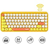 Tastiera Bluetooth Wireless, Simpatica Tastiera compatta Mini a 84 Tasti, Tecnologia di connessione Bluetooth Wireless a 2,4 GHz, Retro keycap Rotondo ABS, Pannello Opaco, Design ergonomico(Giallo)
