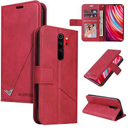 Snow Color Xiaomi Redmi Note 8 Pro Hülle, Premium Leder Tasche Flip Wallet Case [Standfunktion] [Kartenfächern] PU-Leder Schutzhülle Brieftasche Handyhülle für Xiaomi Redmi Note8 Pro - COYKB060552 Rot