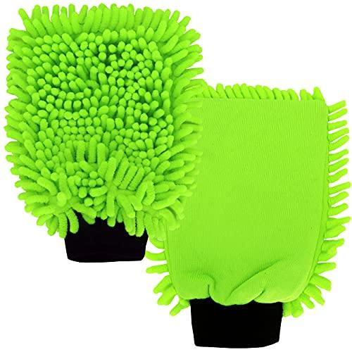 """DELLWING Waschhandschuh Auto Mikrofaser """"Rasta Grün"""" – Premium Waschhandschuh zum Auto waschen / zur Autowäsche / Autopflege mit Zwei Seiten – KFZ-Pflege"""