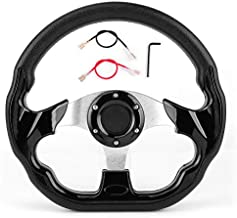 Racing Steering Wheel,320mm/12.5in Carbon Fiber PVC Leather Car Sport Racing Drift Steering Wheel with Horn Button Glossy Black Color Universal