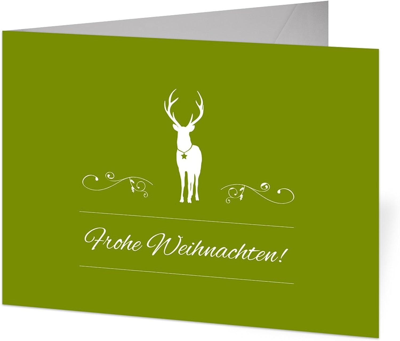 Firmen Weihnachtskarten (40 Stück) - Rentier in Grün als Foto Klappkarten B01M1CZWBB    Erste Qualität