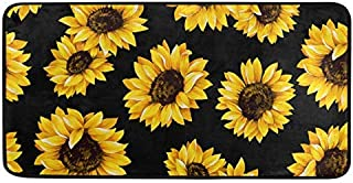 "Kitchen Rugs Sunflower Black Design Non-Slip Soft Kitchen Mats Bath Rug Runner Doormats Carpet for Home Decor, 39"" X 20"""