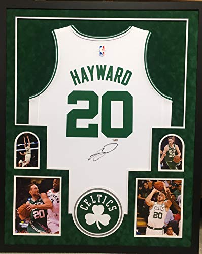 Gordon Hayward Boston Celtics Signed Autograph Licensed Swingman Custom Framed Jersey White Suede Matted 4 Picture Fanatics Authentic Certified