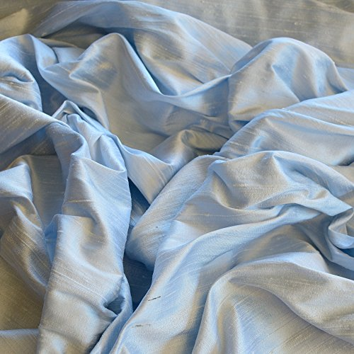 "44"" Wide - Iridescent Baby Blue Dupioni Silk, 100% Silk Fabric, by The Yard"