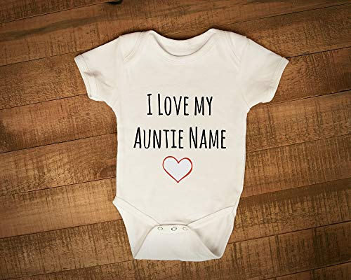 I Love My Auntie Aunt Aunty Personalised Name vest baygrow, New Baby gift,...