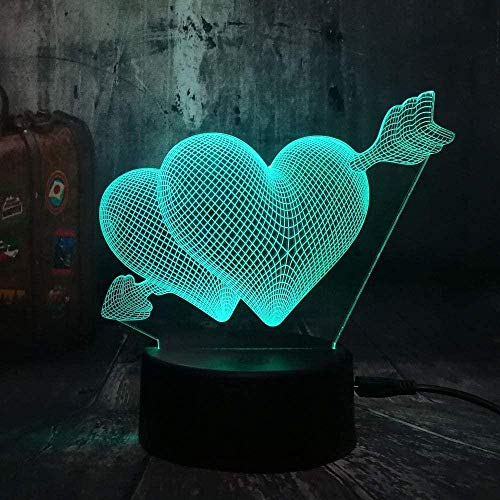 YOUPING Luz de noche 3D para niños 7 colores de dibujos animados Led 3D lámpara de mesa amor romántico flecha a través del corazón lámpara de escritorio de boda dormitorio decoración amante