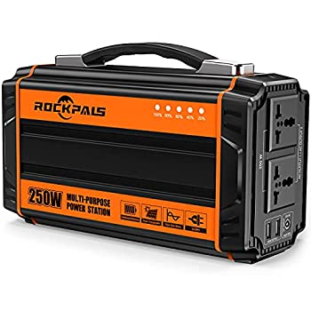 ROCKPALS 250-Watt Portable Generator Rechargeable Lithium Battery Pack Solar Generator with 110V AC Outlet 12V Car USB Output Off-grid Power Supply for CPAP Backup Camping Emergency