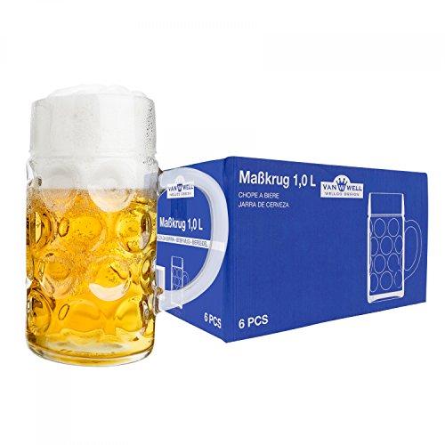 Van Well 6er Set Maßkrug 1 Liter geeicht | großer Bierkrug mit Henkel | Bierglas spülmaschinenfest perfekt geeignet für Gastronomie