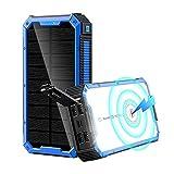 Siqi Power Bank 36800 mAh - 5 V/3 A - Chargement rapide sans fil - Chargeur solaire portable [4...