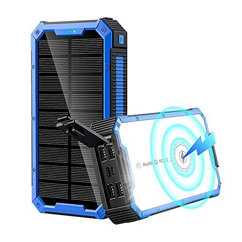 Siqi Power Bank 36800Mah-5V / 3A Carga rápida Wireless Power Banks Cargador portátil Solar [4 Salidas y 3 entradas] con linternas LED Paquete de batería Externa-Dark Blue