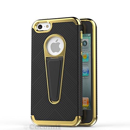 Cocomii Shiny Rim iPhone SE/5S/5C/5 Custodia, Sottile Magro Opaco Kickstand Verticale & Orizzontale Protezione Anticaduta Rinforzata alla Moda Case Bumper Cover Paraurti for iPhone SE/5S/5C/5 (Black)