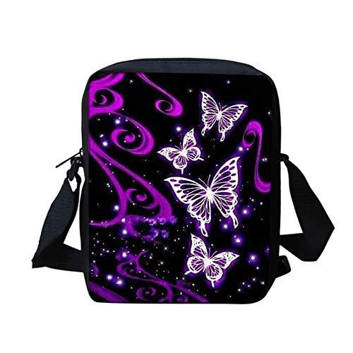 WELLFLYHOM Cartoon Butterfly Print Cute Messenger Bag Ultralight Small Portable Women's Outdoor Sport School Bags Purse Shoulder Bag Crossbody Satchel for Youth Teen Girls Handbags Purple