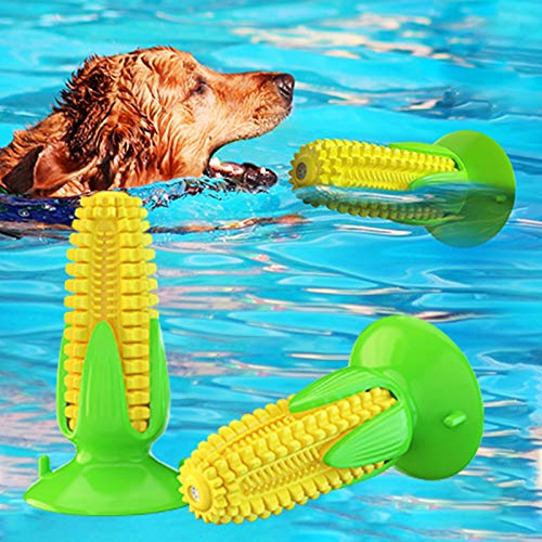 USWT Dog Toy Puppy Toys Dogs Supplies, Squeaky Doggy Chew Toothbrush with Suction Cup, Interactive Corn-Shaped Pet Molar Stick with Durable New Material…