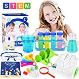 ELOVER Kids Science Experiments Kit with Lab Coat Scientist Costume Dress Up Pretend Play Toys Set Birthday Gift for Boys Girls Age 6-10 Years Old White