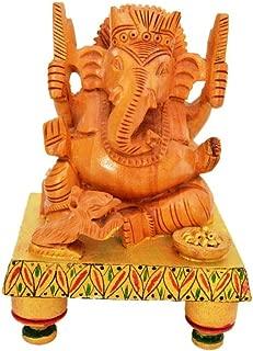 Shrinath Handicrafts Wooden Ganesh Statue - Hand Carved Sitting on Chowki- Hindu Elephant Lord Ganesha Wood Sculpture - God of Prosperity and Fortune Ganpati Vinayak India Hindu Deity God Figurine