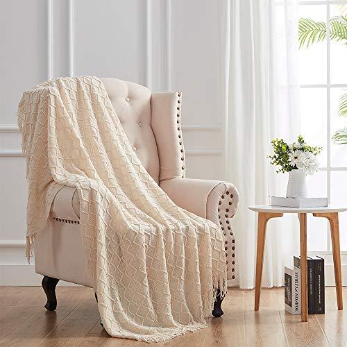 Manta para sofá de sofá, manta de punto decorativa beige (127 x 152 cm) con borlas, suave y ligero..