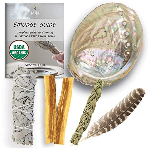 Sage Smudge Kit | USDA Organic California White Sage, Sweetgrass Braid, & Palo Santo Stick(s) Smudging Kit for Meditation, Yoga, Reiki, Home Cleansing, & Aromatherapy (Healer's Kit, White Sage)