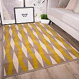 The Rug House Milan Color Ocre Amarillo Mostaza Gris Beige con Formas geométricas en Diamante Tradicional Alfombra de salón 160cm x 230cm