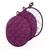 VEIKERY Topflappen, 100% Baumwolle, oval, 3 Stück violett