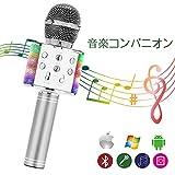 Jodimitty Bluetooth カラオケマイク ブルートゥース ワイヤレスマイク 高音質魔音機能 音楽再生usb充電式 超大容量1800Mah 誕生日会 ホームパーティー大活躍 Android/iPhone/PCに対応 6カラー選択可 (230*55*10MM, シルバー)