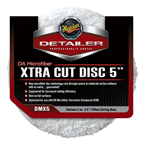 MEGUIAR'S DMX5 Disco de Pulido 2 Pieza(s) - Accesorios para abrillantadores de Coches, Disco de Pulido, D300, Blanco, Microfibra, 14 cm