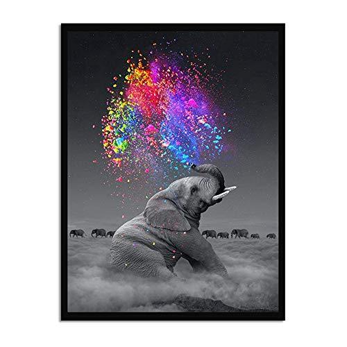 Stampe su tela Wall Art Immagini di animali, Elefante grigio che sgorga Arcobaleno Dipinti moderni su tela Poster di famiglia per decorazioni per ufficio a casa Soggiorno Arredamento camera da letto,