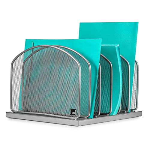Desktop File Organizer Sorter by Mindspace with 6 Vertical Compartments, Mesh File Office Organizer | Paper Work Divider | The Mesh Collection, Silver