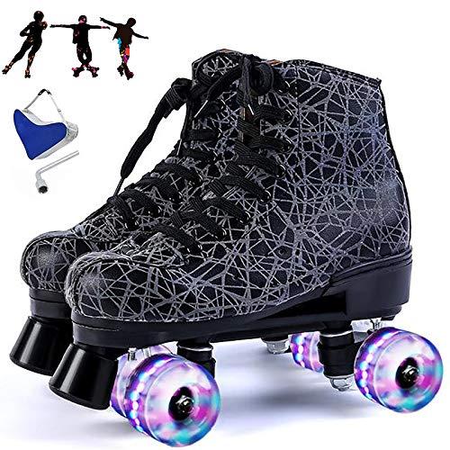 WOERD Roller Quad Skates Patines,Patines de Roces para Mujeres,Dos Líneas para Adultos Patines de Ruedas Clásicos,Patines Intermitentes Zapatillas,Skate Patines en Paralelo Retro