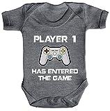 ShirtStreet Geek Nerd Gamer Strampler Bio Baumwoll Baby Body kurzarm Jungen Mädchen Player 1 has entered the Game, Größe: 3-6 Monate,Heather Grey Melange