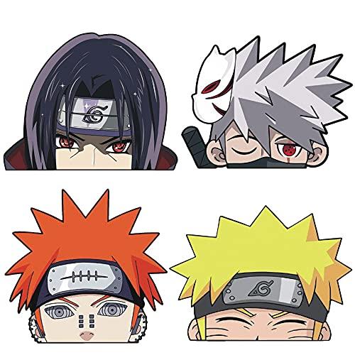 4 Pcs Anime Car Sticker for Naruto Itachi Kakashi Vinyl Bumper Sticker Decal Waterproof Car Sticker