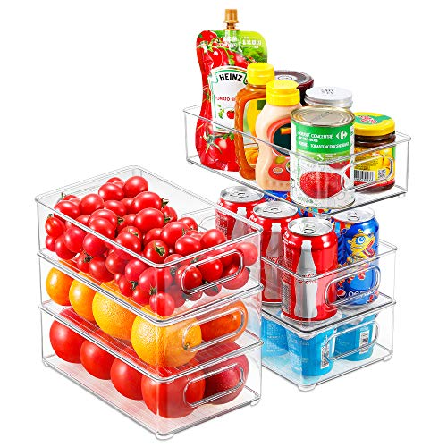 Refrigerator Organizer Bins, 6pack Stackable Clear Plastic Organizers with Handles For Fridge, Pantry, Kitchen Cabinet, Drawers and Countertops, BPA Free Acrylic Freezer Food Storage containers