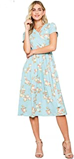 Cross Over Floral Dress in Teal