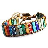 STYLE4-NATURE® Braccialetto con 7 chakra, realizzato a mano, in pietra naturale e pelle, colorato, portafortuna, armonia