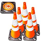 VIEWBRITE Collapsible Traffic Cones with LED Lighting - Safety Cones Emergency Road Cones Parking Cones Orange Collapsable Cones with Heavy-Duty Rubber Base - 28 inches Tall - 5 Pack