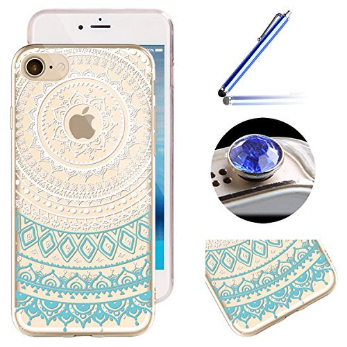 Etsue iPhone 7 Housse,Etui Housse Coque de Protection Silicone TPU Gel pour iPhone 7,Silicone Coloré Imprimé en Caoutchouc Souple de Gel Housse pour iPhone 7 + 1x Bleu stylet + 1x Bling poussière plug (couleurs aléatoires) - Mandala, Bleu Blanc