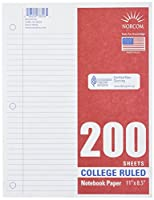 Norcom College Ruled Filler Paper, 28cm x 22cm, 200 Sheets, White