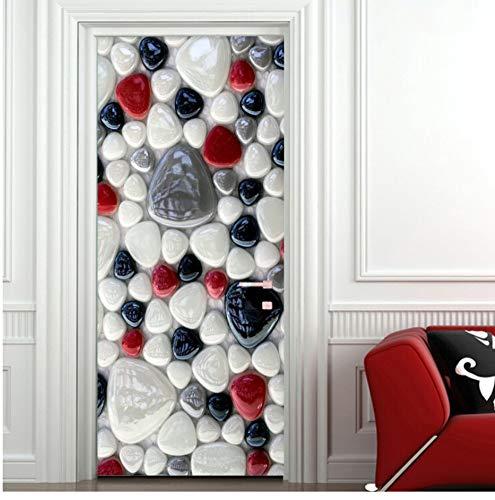 3D Etiqueta De La Puerta De Pared Moderno Adoquines Puerta Murales Sala De Estar Baño Cocina Autoadhesiva Etiqueta Impermeable 80X200Cm