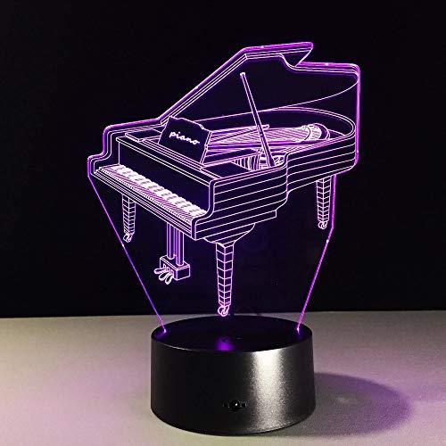 3D visuelles Licht Acryl Musikinstrument Klavier mehrfarbiges Nachtlicht LED-Licht mehrfarbige kreative Dekoration kleine Tischlampe