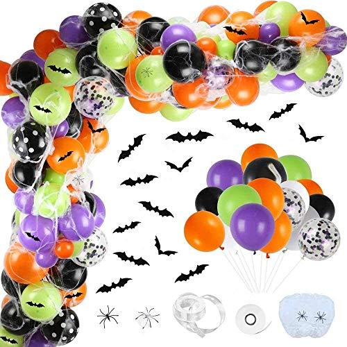 tarumedo 117 Stück Halloween Luftballons Girlande, Halloween Party Halloween Dekorationen Halloween Deko DIY Spinnennetz Fledermaus Deko Kindergeburtstag Geburtstagsparty