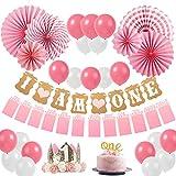 Sweetneed Cumpleaños Rosa Decoracion de Fiestas de 1 año Corona Cumpleaños Papel de Ventilador 1-12 Meses Mensual Pared De La Foto'One' Cake Topper Rosa Blanco /10 Globos Cumpleaños (Pink1)