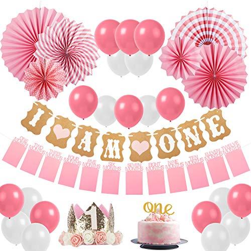 """Sweetneed Cumpleaños Rosa Decoracion de Fiestas de 1 año Corona Cumpleaños Papel de Ventilador 1-12 Meses Mensual Pared De La Foto""""One"""" Cake Topper Rosa Blanco /10 Globos Cumpleaños (Pink1)"""