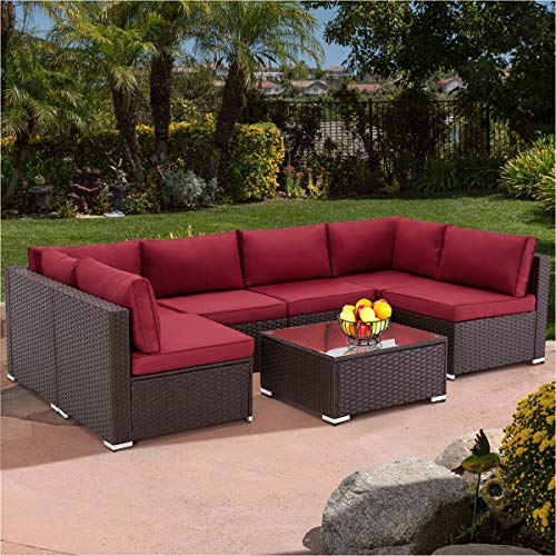 U-MAX 7 Pieces Outdoor Patio Furniture Set, All Weather Brown PE Rattan Wicker Sofa Set, Sectional Furniture Conversation Set with Red Cushions and Coffee Table for Porch Garden Poolside
