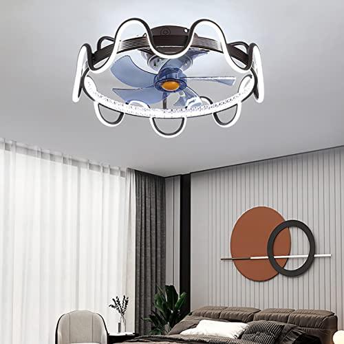 Ventilador Techo con Luz Led Y Mando Mando Distancia Dormitorio 3 Velocidades,Regulable Ventilador Techo con Luz Y Temporizador,Negro