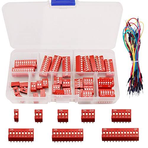 Youmile 40PCS Interruptor DIP Kit Surtido Rojo 1 2 3 4 6 8 10 12 Posición 2.54mm Encendido Apagado Interruptor tipo deslizante para placa de pruebas con cable de salto