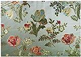 Russo Tessuti Tessuto Tappezzeria San Leucio Floreale Grande Fondo Verde 50x280 cm