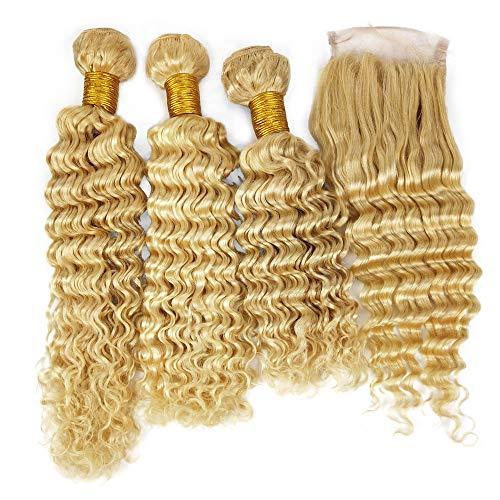 Mila Afro Frisuren Blonde 613# Echthaar Tressen Lockig Haarverlängerung Deep Wave Style 100% Remy 3 Bundles Haar mit Lace Closure (20