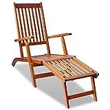 vidaXL Bois d'Acacia Chaise de Terrasse avec Repose-pied Chaise de Jardin
