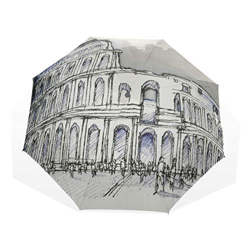 Umbrella Sun Protection Art Europäisches Gebäude Castle Painting 3 Fold Art Umbrellas (Winddichter Regenschirm für Sonnenschutz