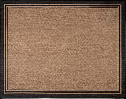 Gertmenian 21490 Outdoor Rug Freedom Collection Bordered Theme Smart Care Deck Patio Carpet, 5x7 Standard, Border Black